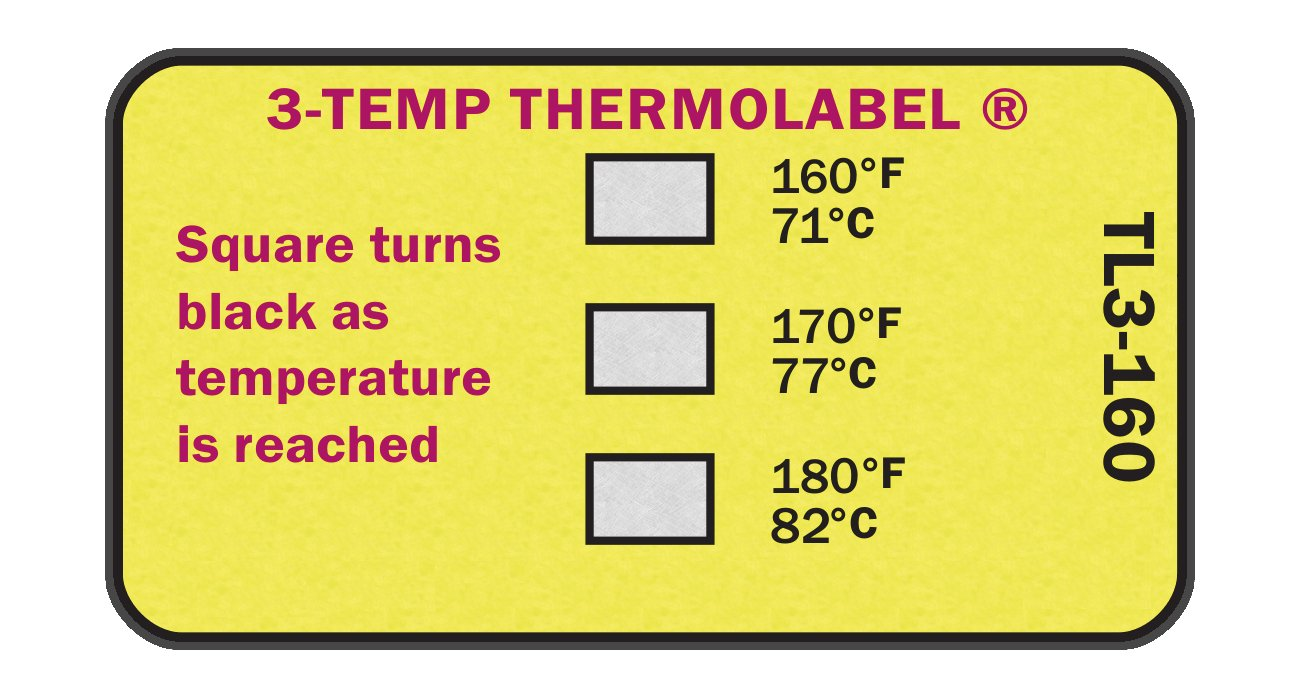 3-Temp Thermolabel 160°F 170°F 180°F Temperature Label for Dishwashers Pack of 16 Labels