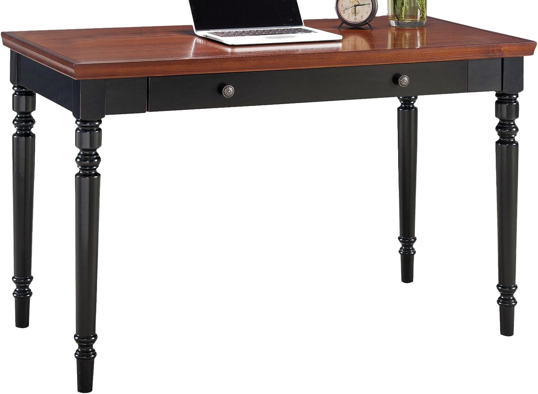 Leick Farmhouse Turned leg Black Two-tone Laptop Desk with Center Drawer