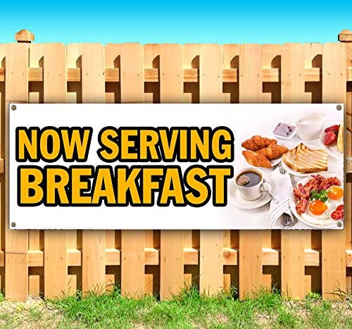 Flag, Many Sizes Available Store New Now Serving Breakfast 13 oz Heavy Duty Vinyl Banner Sign with Metal Grommets Advertising