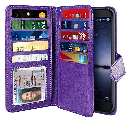 NEXTKIN Zmax Pro Carry Z981 Case, Leather Dual Wallet Folio TPU Cover, 2 Large Pockets Double flap Privacy, Multi Card Slots Snap Button Strap For ZTE Zmax Pro Carry Z981 - Purple