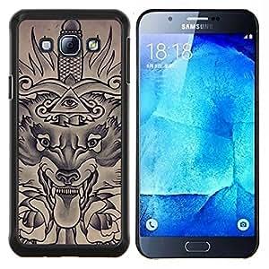 EJOOY---Cubierta de la caja de protección para la piel dura ** Samsung Galaxy A8 A8000 ** --Masones Ojo Pirámide Espada