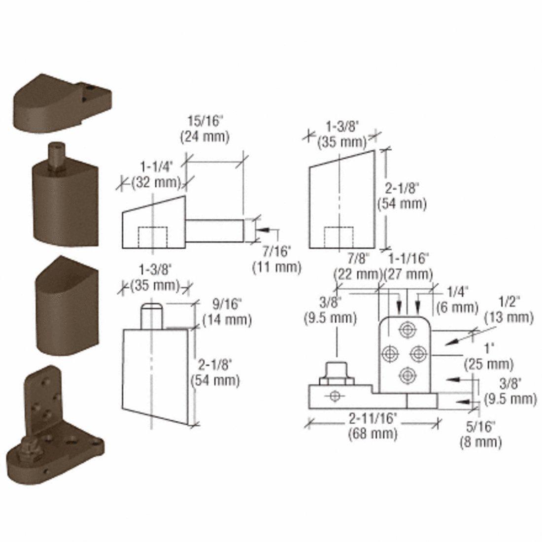 C.R. LAURENCE 0P41RHDU CRL Dark Bronze Offset Right Hand Pivot Set with 3/32'' Recess