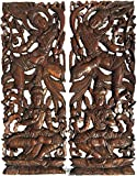 "Asian Inspired Home Decor. Thai Traditional Figure Carved Wood Wall Panels. Dark Brown Finish 35.5""x13.5""x1'' Each, Set of 2 Pcs"