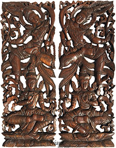 "Asian Inspired Home Decor. Thai Traditional Figure Carved Wood Wall Panels. Dark Brown Finish 35.5""x13.5""x1'' Each, Set of 2 Pcs by Asiana Home Decor"