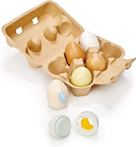Tender Leaf Toys - Wooden Eggs - 7 Pieces Pretend Food Play Eggs Shopping Game Accessories with Authentic Egg Carton Solid Wood Cute Toy for Children 3+