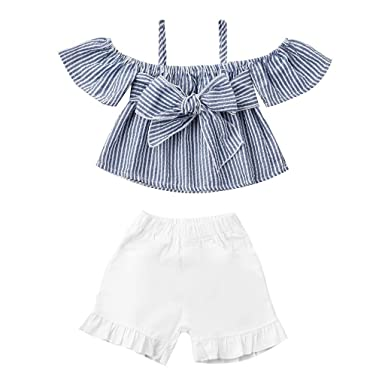 ce2e5e8c365 Amazon.com: Baby Shorts Sets, Fineser 2PC Toddler Infant Kids Cold Shoulder  Striped Bow Crop Tops+Ruffles Shorts Baby Girls Outfits: Clothing