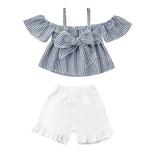 Infant Kid Baby Girl Off Shoulder Top Short Pants 2PCS Set Outfit Clothes Summer