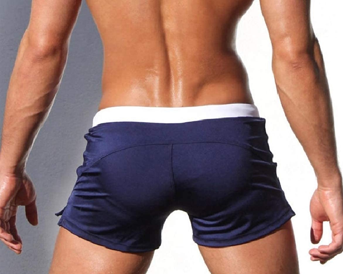 Abetteric Men Half Pants Square Leg Bodycon Shorts Swimwear Underpants Trunks