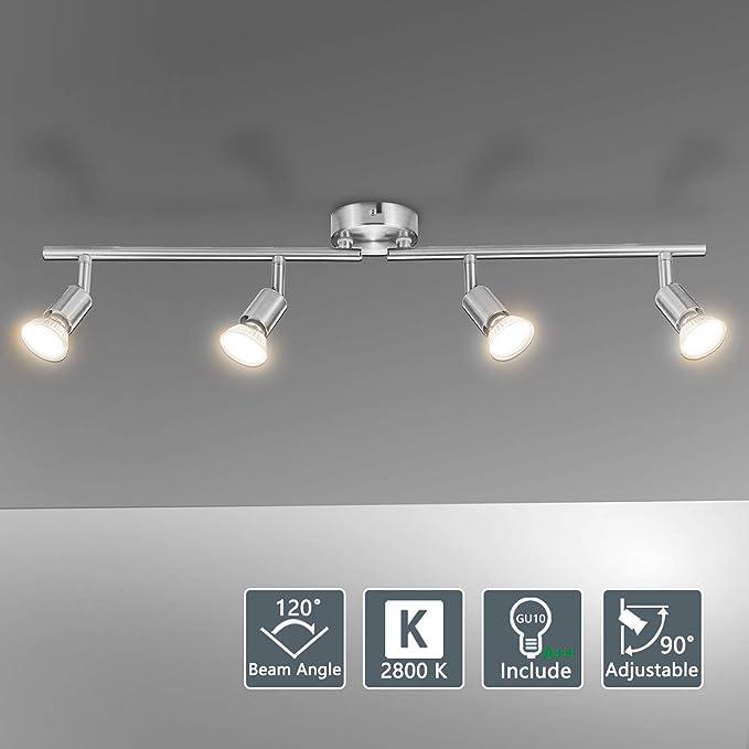 Bojim Lámpara de techo LED Plafón con Focos Giratorios 4X Bombillas GU10 Bajo consumo 6W 220V 2800K Blanco cálido 600lm 82Ra IP20 Níquel Mate Longitud