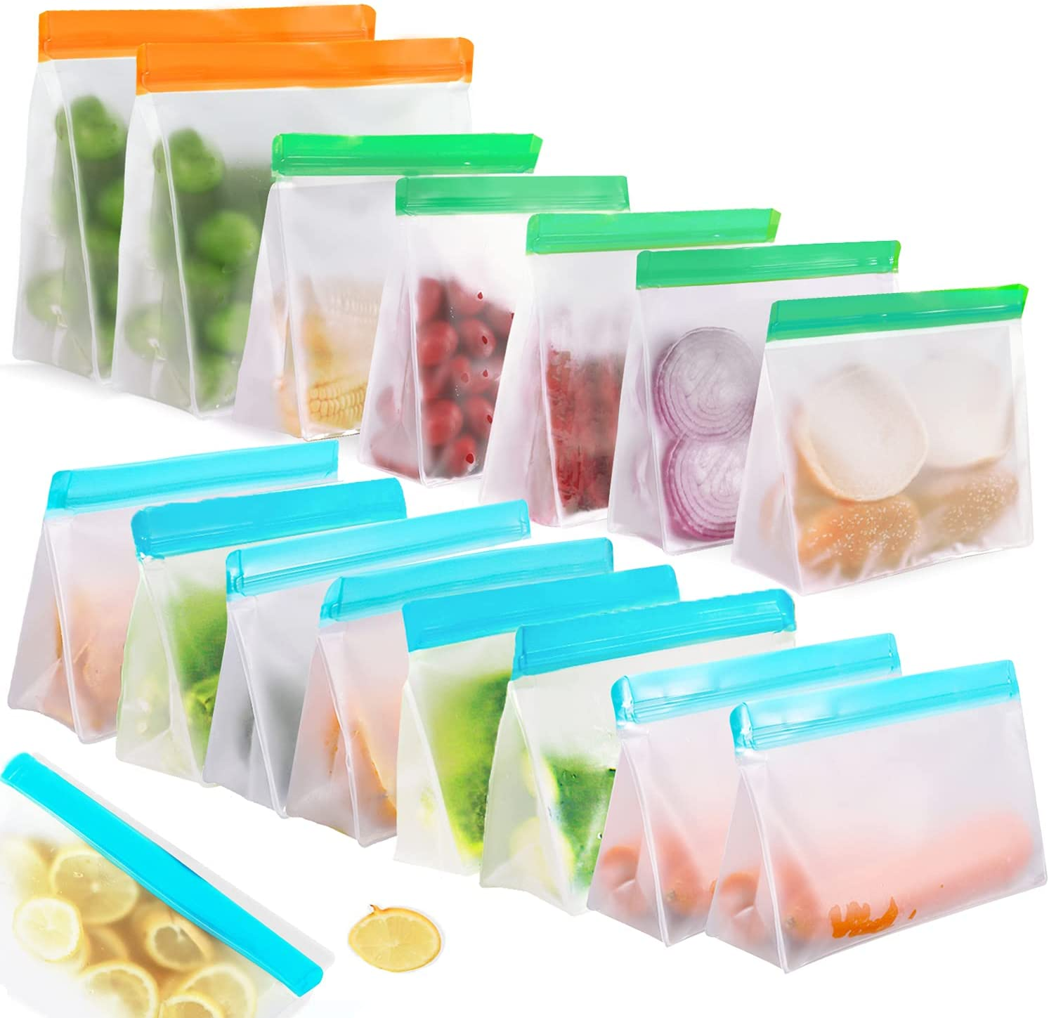 15 Pack Reusable Food Storage Bags Stand Up, Haliluya FDA Grade Leakproof Reusable Freezer Bags - 2 Gallon Bags + 5 Sandwich Bags + 8 Snack Bags - Reusable Storage Bags for Meat Fruit Cereal Snacks