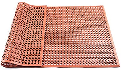 Hefty Mat General Purpose Safety/Anti-Fatigue Rubber Matting, for Wet Areas, 3 feet ×5 feet ×1/2 inch, Red