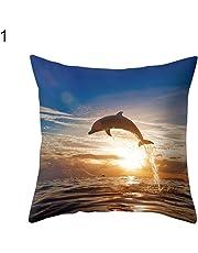 fiejns-zjy Marine Animal Dolphin Pillow Case Cushion Square Decorative Throw Pillow Cover Cushion Covers Decor, Pillowcase Pillow Shams, for Sofa Bedroom Home Car Chair - 1