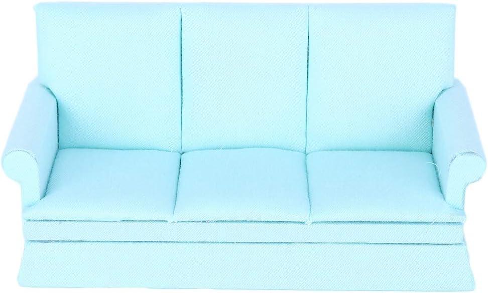 Haokaini Miniatur Puppenhaus Sofa Ma/ßstab 1:12 Mini Puppenhaus M/öbel Reine Farbe Sofa Couch mit 3 Kissen f/ür Barbie-Puppen Weihnachtsgeburtstagsgeschenk f/ür M/ädchen