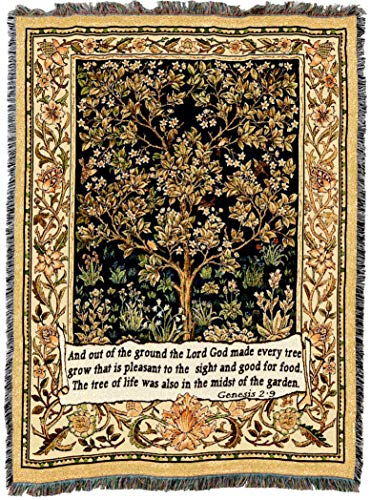 (Pure Country Weavers | Tree of Life Tapestry with Genesis 2:9 Woven Tapestry Throw Blanket and Wall Hanging with Fringe Cotton USA 72x54)