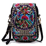 Women Embroidery Vintage Printed Handmade Mini Crossbody Bag with Adjustable Strap (flower)