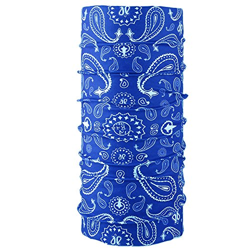 KALILY Versatile 16-in-1 Lightweight Sports & Casual PAISLEY Headwear Headband Bandana Neck Gaiter, Balaclava, Helmet Liner, Face Mask for Sports, Outdoor Camping, Fishing, Party etc (Royal Blue) ()