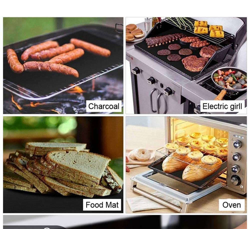 LAAT BBQ Grill Mat Reusable Oven Liner Teflon Cooking Mats Nonstick Grilling Accessories Heat Resistant Barbecue Sheets Baking Mat Pad for Home Cook Electric Gas Grill (1PCS)