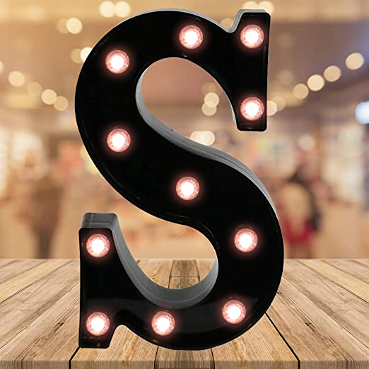 Light up Black Alphabet Marquee Letters Sign LED Letter Lights for Home Bar Festival Birthday Party Wedding Decorative (Black Letter S)
