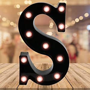 Oycbuzo Light up Black Alphabet Marquee Letters Sign LED Letter Lights for Home Bar Festival Birthday Party Wedding Decorative (Black Letter S)