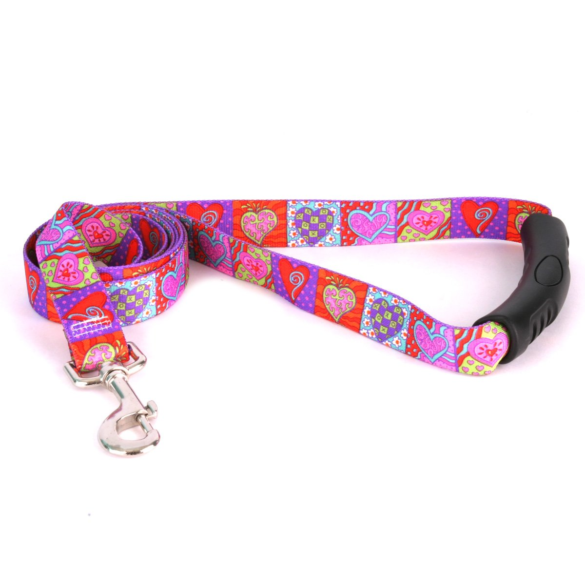 Yellow Dog Design Crazy Hearts Ez-Grip Dog Leash with Comfort Handle 1'' Wide and 5' (60'') Long, Large