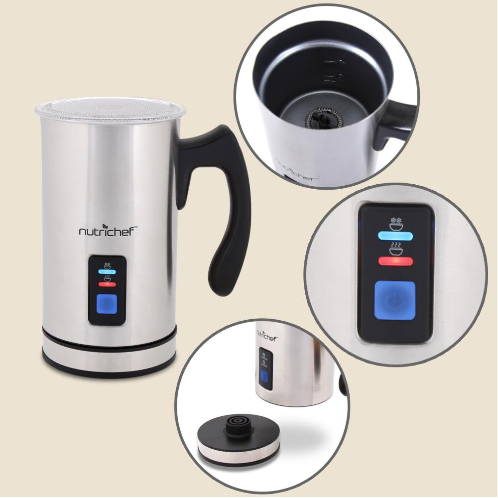 NutriChef Upgraded Dual Electric Milk Frother and Warmer - Sleek Compact Stainless Steel Steamer w/ Automatic Power Off Function and LED Light Indicator Perfect for Foamer and Creamy Latte - PKMFR14 by NutriChef (Image #2)