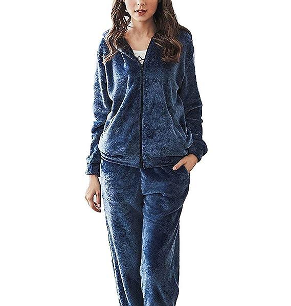Mujer Batas Otoño Invierno Espesar Elegante Conjunto De Pijama Manga Larga Encapuchado Cremallera Vintage Ropa para