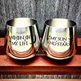 Set of 2, Stainless Steel Game of Thrones Wine Glasses, Moon of My Life, My Sun and Stars, Hand Etched, 18 oz Stemless, Black Text, Sand Carved by Integrity Bottles