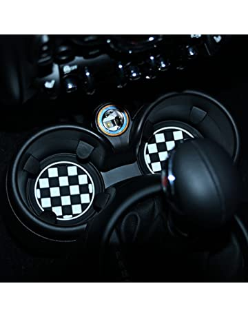 73mm Black/White Checkered Checkerboard Pattern Soft Silicone Cup Holder Coasters Front Cup Holders