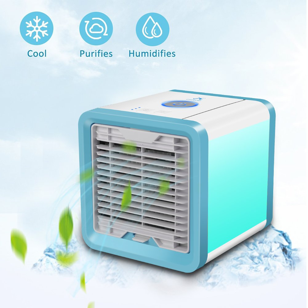 [2018 Newest Version] CUNXIA Personal Space Air Cooler, Portable Min Air Conditioner 3 in 1 Cooler Air Humidifier & Purifier with 3 Speeds and 7 Colors LED Light for Home Office Bathroom Sleep Outdoor Yoga (Blue)