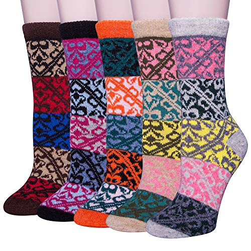 (YSense 5 Pairs Womens Knit Warm Casual Wool Crew Winter Socks (fits shoe size 5-8) (B-01))