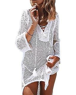 8f68cc55a551 Imixcity Sexy Scollo A V Copricostume Costume da Bagno da Spiaggia per Le  Donne Lace Crochet Beach