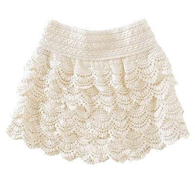 ACAMPTAR Pantalones cortos para mujer/chica Pantalones cortos de encaje fino de algodon (M, blanco): Ropa y accesorios