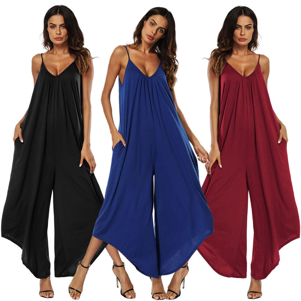 248346d12b Amazon.com  Hengshikeji Women Casual Strappy Pocket Loose Long Romper  Jumpsuits Sexy Sleeveless Bodysuits Teen Girls for Summer  Clothing