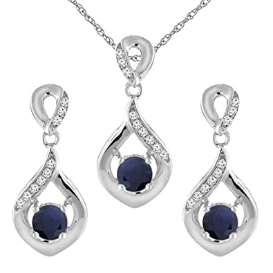 c88e066de Image Unavailable. Image not available for. Color: 14K White Gold Natural Blue  Sapphire Earrings ...