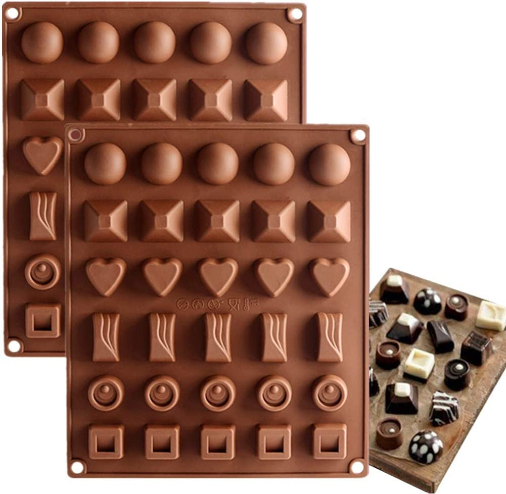 JOERSH Chocolate Mold Silicone Food Grade 30-Cavity Baking Mold Candy Making Supplies for Gummy, Jello, Hard Candy (6 Shapes,2 Pack)