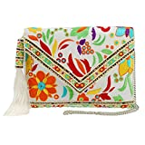 MARY FRANCES Beauty And The Beach, White Floral Embroidered Crossbody Envelope Clutch Handbag