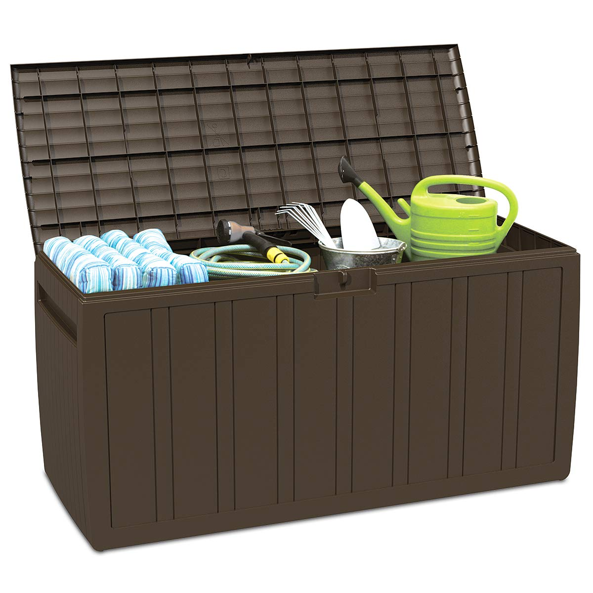 Giantex 80 Gallon Deck Box W/Handles for Easy Carrying Garden Container for Patio Garage Shed Backyard Storage Outdoor Tool Box (Brown) by Giantex