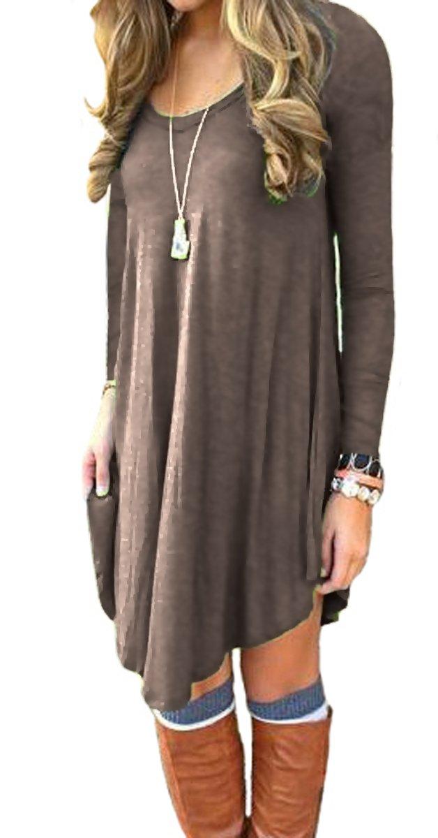 DEARCASE Women's Long Sleeve Casual Loose T-Shirt Dress Brown L