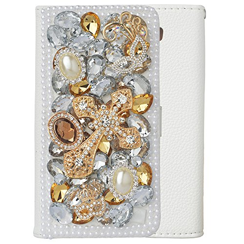 Spritech(TM Bling White Phone Case for Samsung Galaxy Mega 6.3 i9200,3D Handmade Yellow Silver Crystal Cross Pattern Design PU Leather Stand Folding with Card Slot Cellphone Cover
