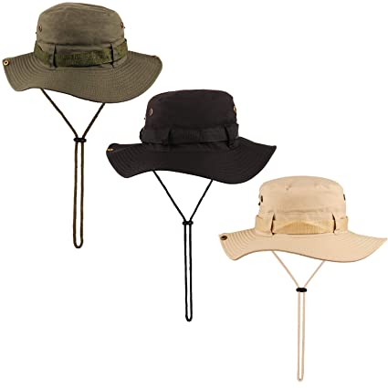 dc80330c0 NEWITIN 3 Pack Outdoor Boonie Hat Foldable Wide Brim Fishing Cap  Double-Sided Sun Hat for Men and Women, 3 Colors