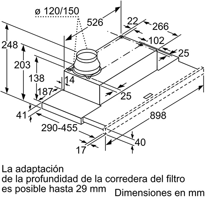 Balay 3BT849X Semintegrada (extraíble) Acero inoxidable 400m³/h C ...