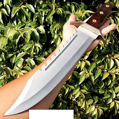 16.5'' FULL TANG RAMBO BOWIE MACHETE TACTICAL SURVIVAL HUNTING FIXED BLADE KNIFE by Brand New