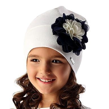Marika Baby Mädchen Frühling Sommer Mütze Blume Festlich mit Baumwolle Weiß