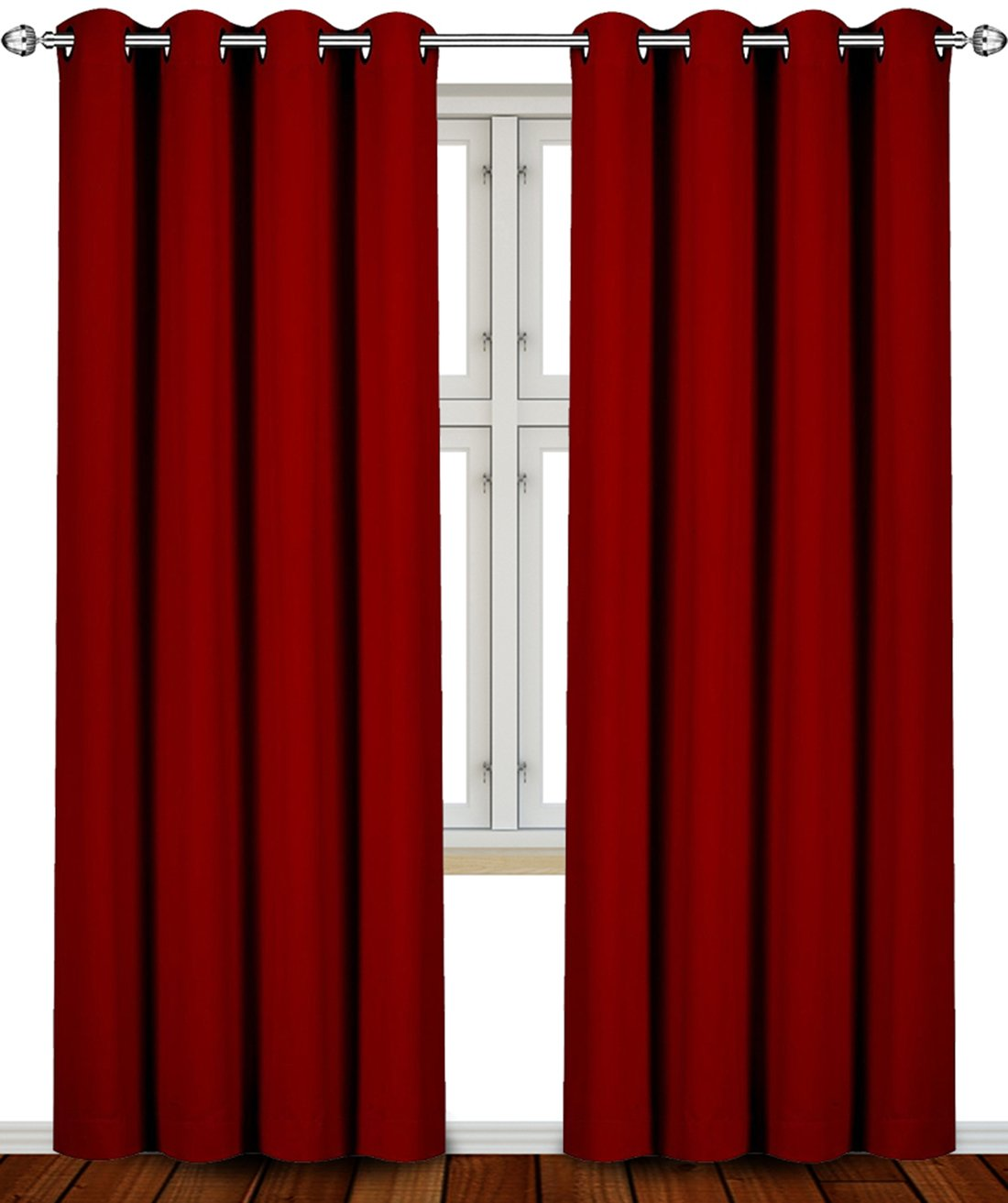 Blackout, Room Darkening Curtains Window Panel Drapes - (Burgundy