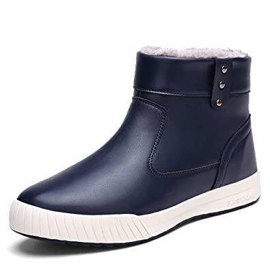 Mens Snow Boots Side Zipper Waterproof Outdoor Shoes Fur Lined Winter Ankle Sneakers