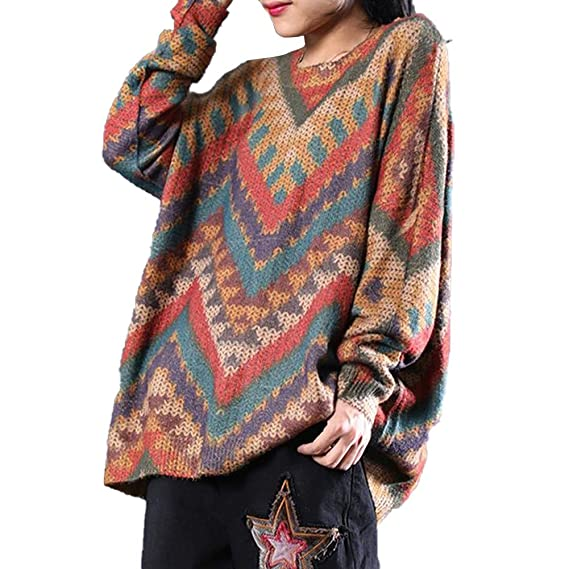 db352ebc84 Image Unavailable. Image not available for. Colour  BUYKUD Women s Long  Sleeve Pullover Sweatshirt New Loose Casual Geometric Cotton Print Sweater