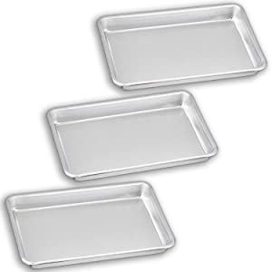 "Bakeware Set – 3 Aluminum Sheet Pan – 1/8 Size (6.5"" x 9.5"") – for Home Use. Perfect Size For Your Microwave Oven, Non Toxic, Perfect Baking Supply set for gifts, for new and experienced bakers alike"
