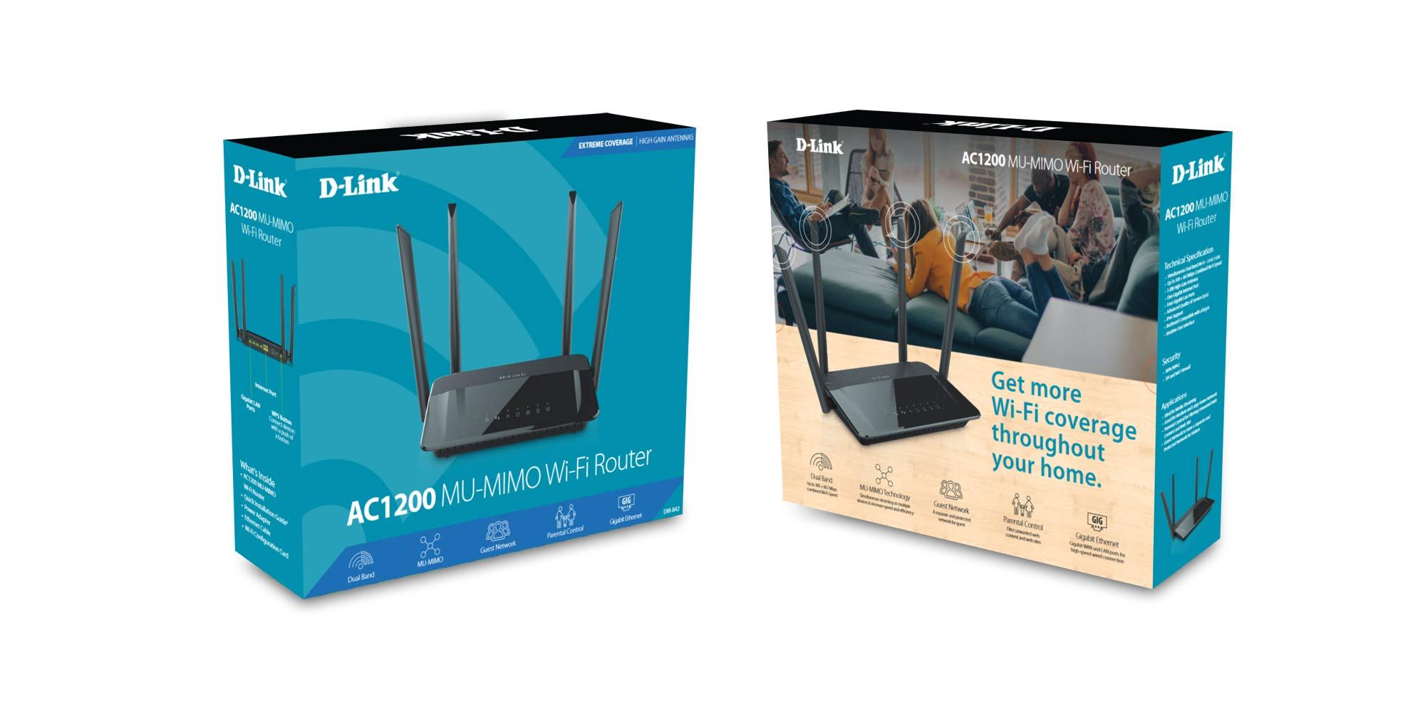 D-Link Wireless WiFi Router - Smart Dual Band - MU-MIMO - Powerful Dual Core Processor - Blazing Fast Wi-Fi for Gaming and 4K Streaming - Reliable Coverage 6 AC1200 high speed Router: Fast HD/3D streaming speeds (up to 300 Mbps on 2.4 gigahertz and 867 Mbps on 5 gigahertz) Simultaneous dual band Wi-Fi: browse the web on one band while streaming media on the other High gain antennas: 4 high powered antennas and amplifiers provide wider coverage throughout your home