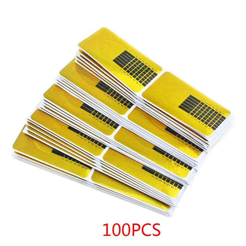 Formulario de Guía 100 PCS para Bandeja de Papel Acrílico Nail Art Tips Extensión Forma de Guía de Insectos Cuidado de Uñas Topker