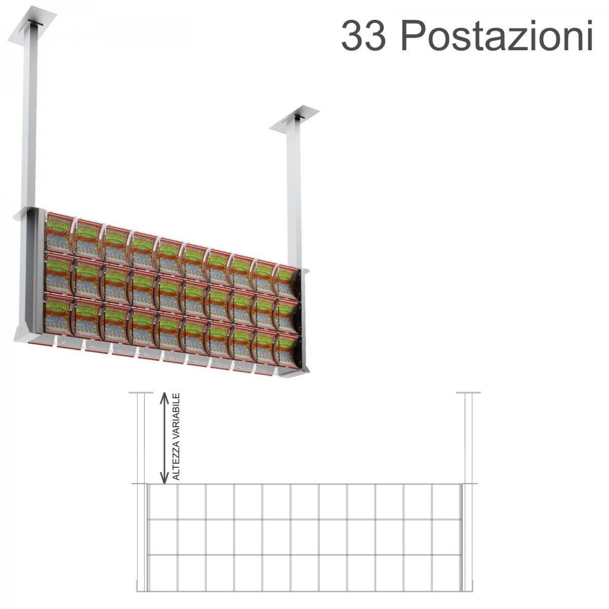 Espositore gratta e vinci da soffitto in plexiglass trasparente a 33 contenitori munito di sportellino frontale lato rivenditore